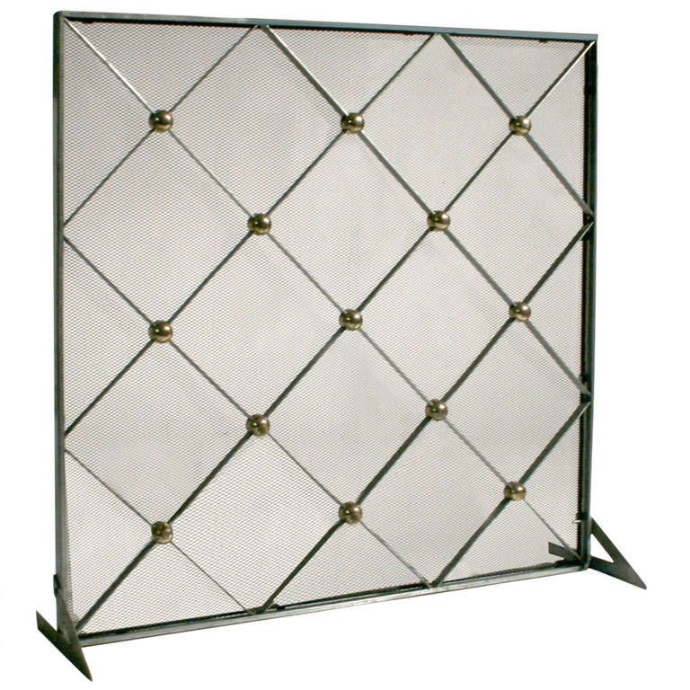 Brass criss crossed single panel fireplace screen | Modern preppy ... : brushed nickel fireplace screen : Fireplace Design