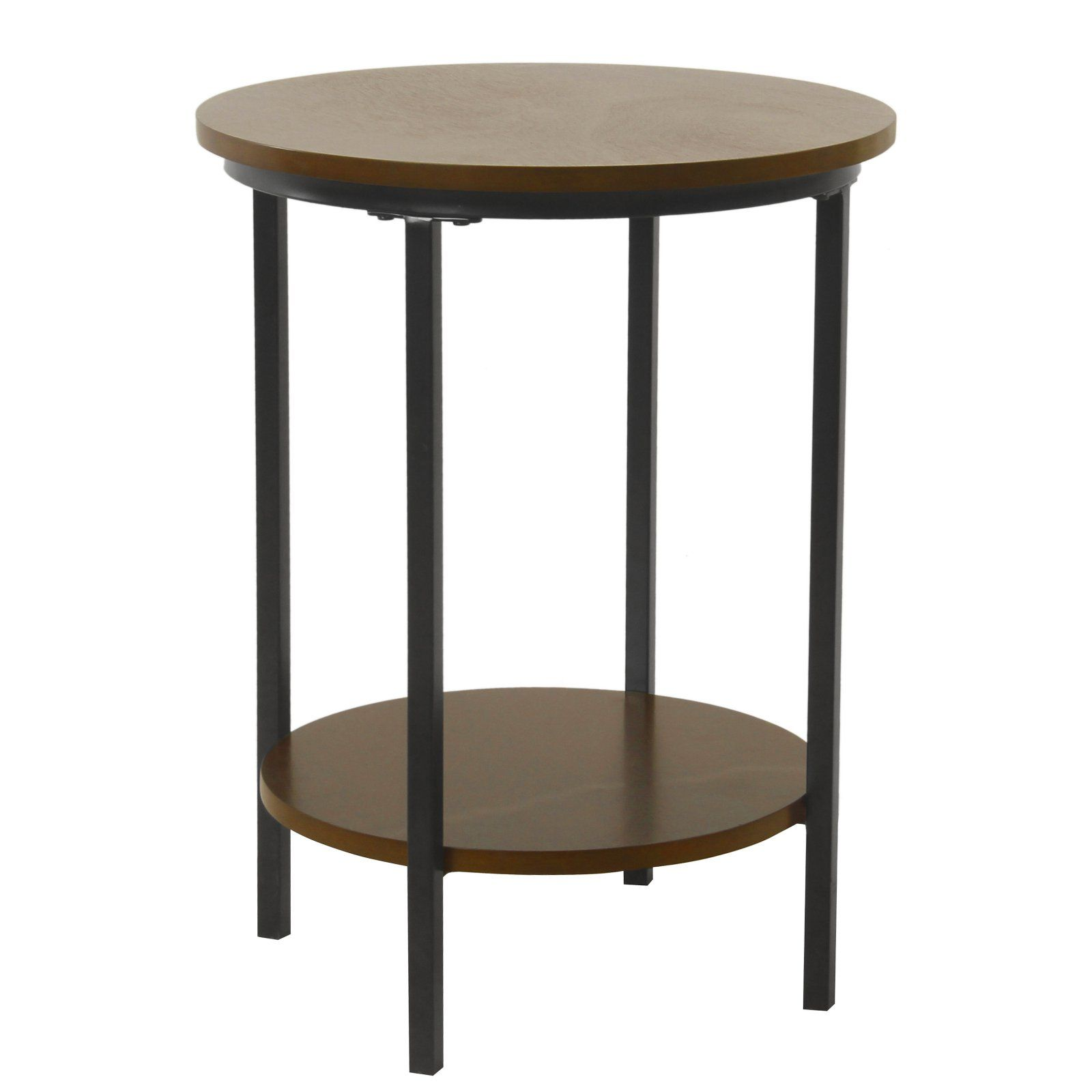 Homepop Round Wood Accent Table With Shelf Storage Round Wood