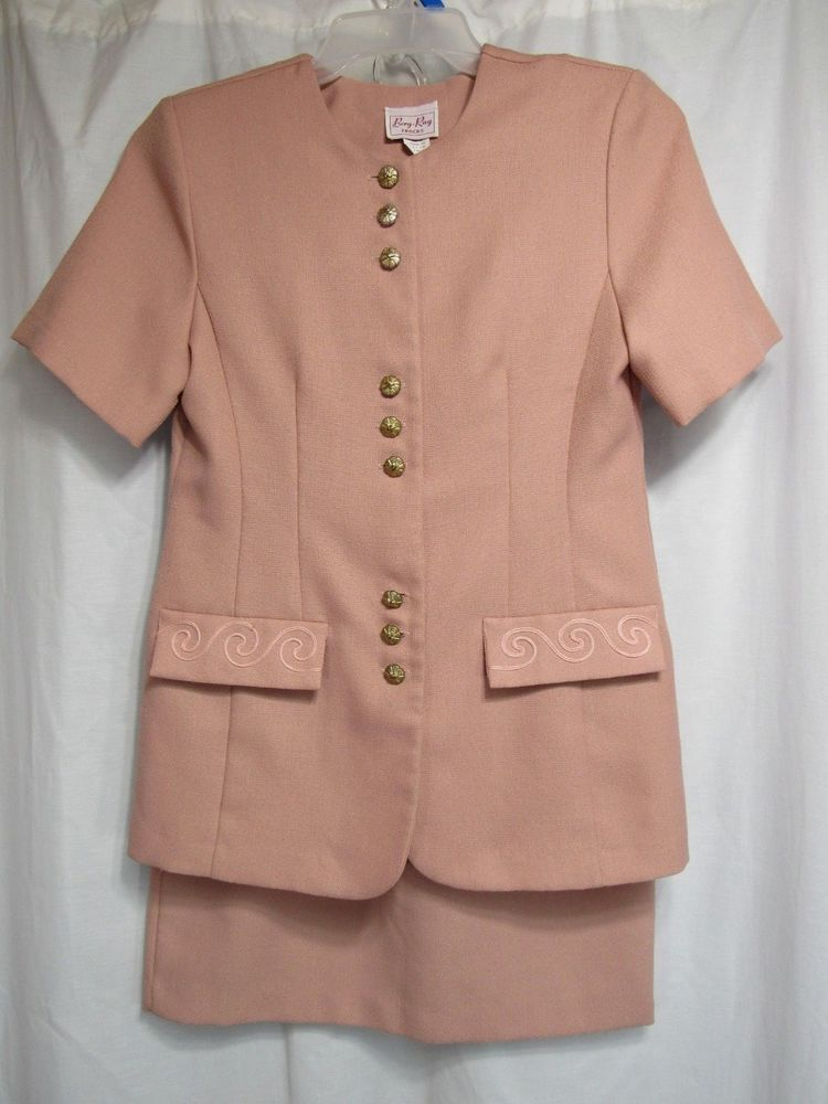 fd9972f31e Berg Ray Frock Suit Sz 10 Pink Top Skirt Button Front Short Sleeve Elastic  Waist  PINK  SkirtSuit
