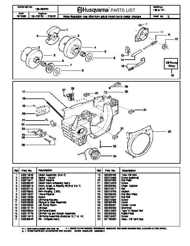 husqvarna chainsaw parts | Husqvarna 136 141 Chainsaw Parts