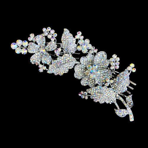 Art Deco Bridal Wedding Flower Leaf Tiara Hair Comb Clear AB Rhinestone Crystal