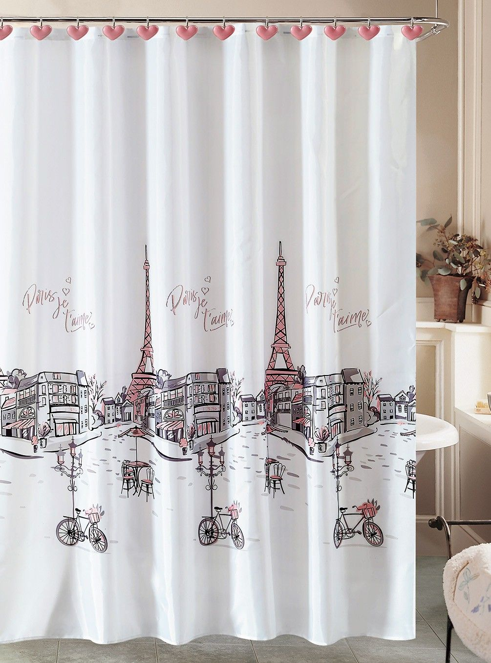 Beatrice Sweet Paris Shower Curtain And 12 Resin Hooks Eiffel Tower French Grey Pink Pink Shower Curtains Shower Curtain Holiday Shower Curtains