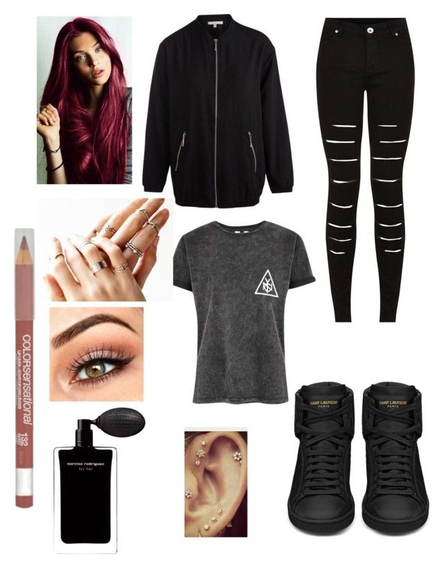 """#WBASC"" by dounia-bts-swag ❤ liked on Polyvore featuring Pieces, Yves Saint Laurent, Free People, Maybelline and Narciso Rodriguez"