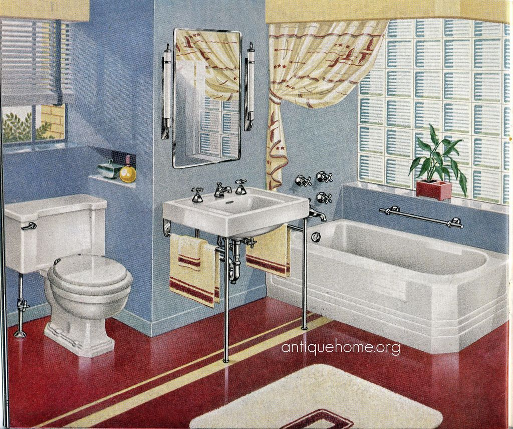 Guest Bathroom Decorating Ideas Pictures Before And After Bathroom Apartment Bathroom Great: 1940's Bathroom::Red And Blue Design