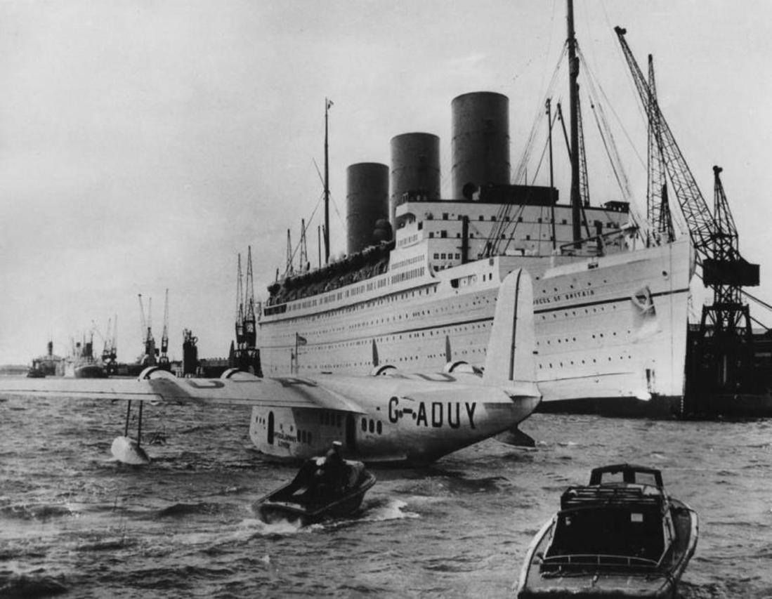 RMS Empress of Britain, with Imperial Airways Short S.23