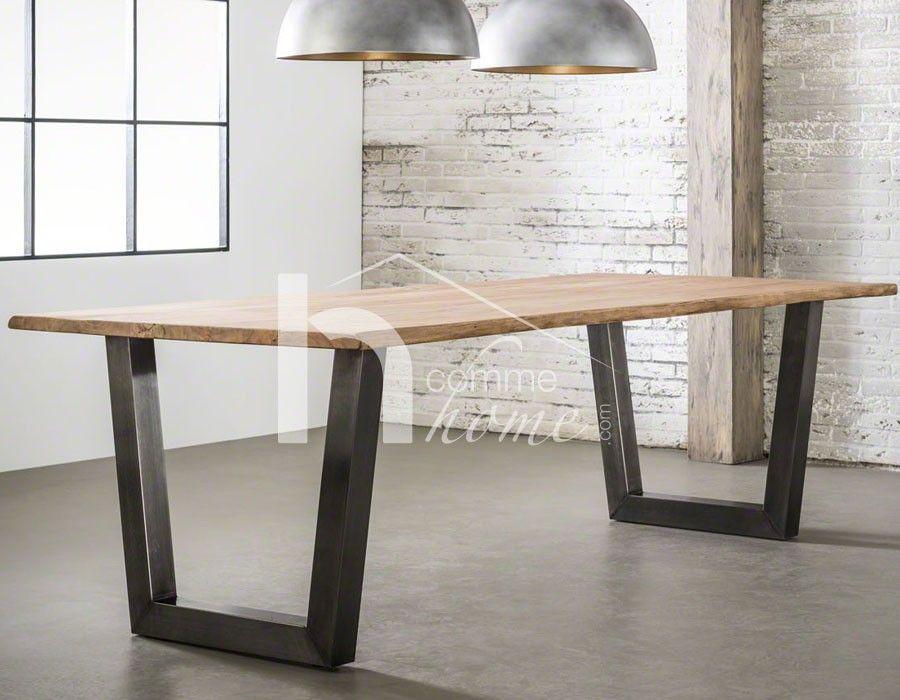 table manger industrielle en acacia et inox bross. Black Bedroom Furniture Sets. Home Design Ideas
