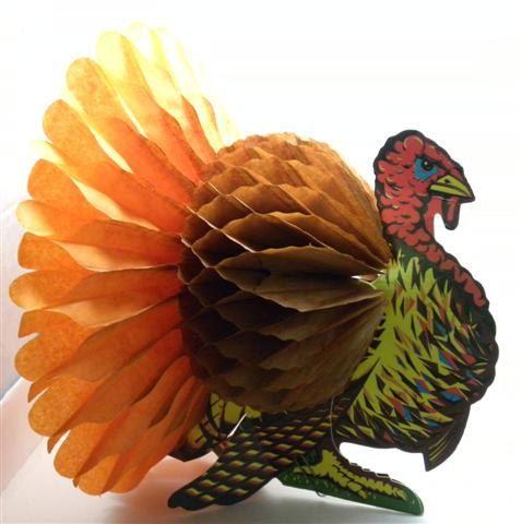 Elegant Vintage 1950s Beistle Thanksgiving Turkey Decoration By Geminijade, $18.00