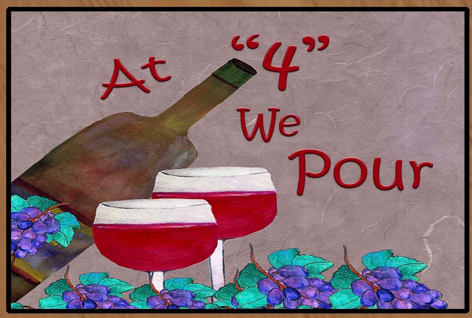At 4 We Pour Red Wine Decor From My Art Fun Wine Party Art Etsy Wine Decor Bar Decor Floor Mats