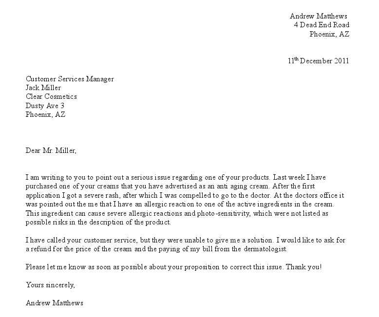 Amazing Free Formal Letter Of Complaint Example