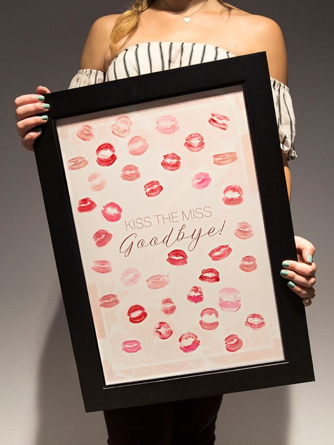Free Printable Kiss The Miss Goodbye Kissable Guestbook Bachelorette Party Themes Bachelorette Themes Bachelorette Party Planning