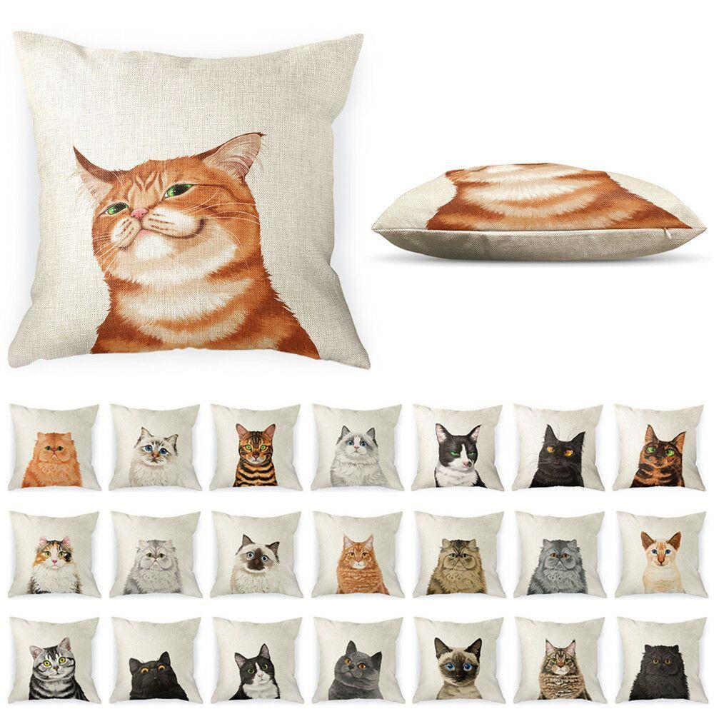 """18/"""" Cat Printed Linen Pillow Case Waist Throw Cushion Cover Car Home Sofa Decor"""