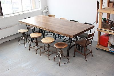 Vintage-Industrial-8-Dining-Table-Cast-Iron-Legs-Butcher-Block-Conference