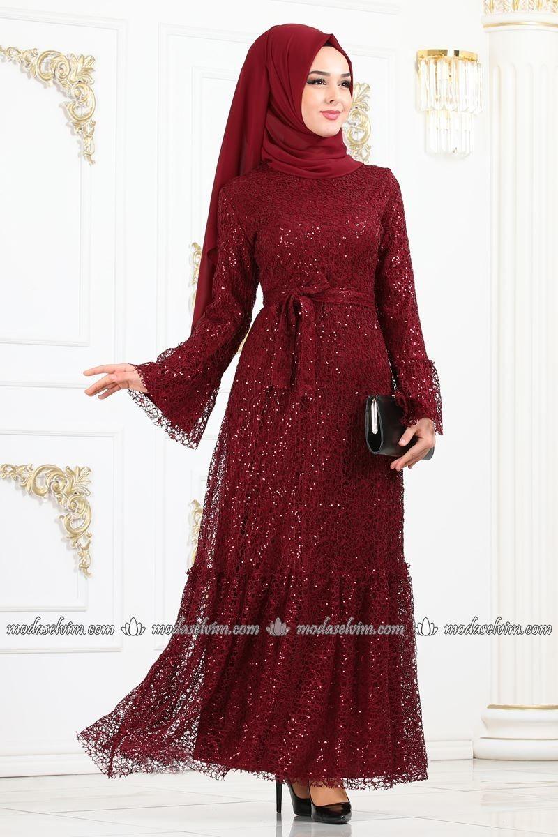 Pul Payetli Tesettur Abiye 4020ab368 Bordo Moda Selvim The Dress Moda Stilleri Moda