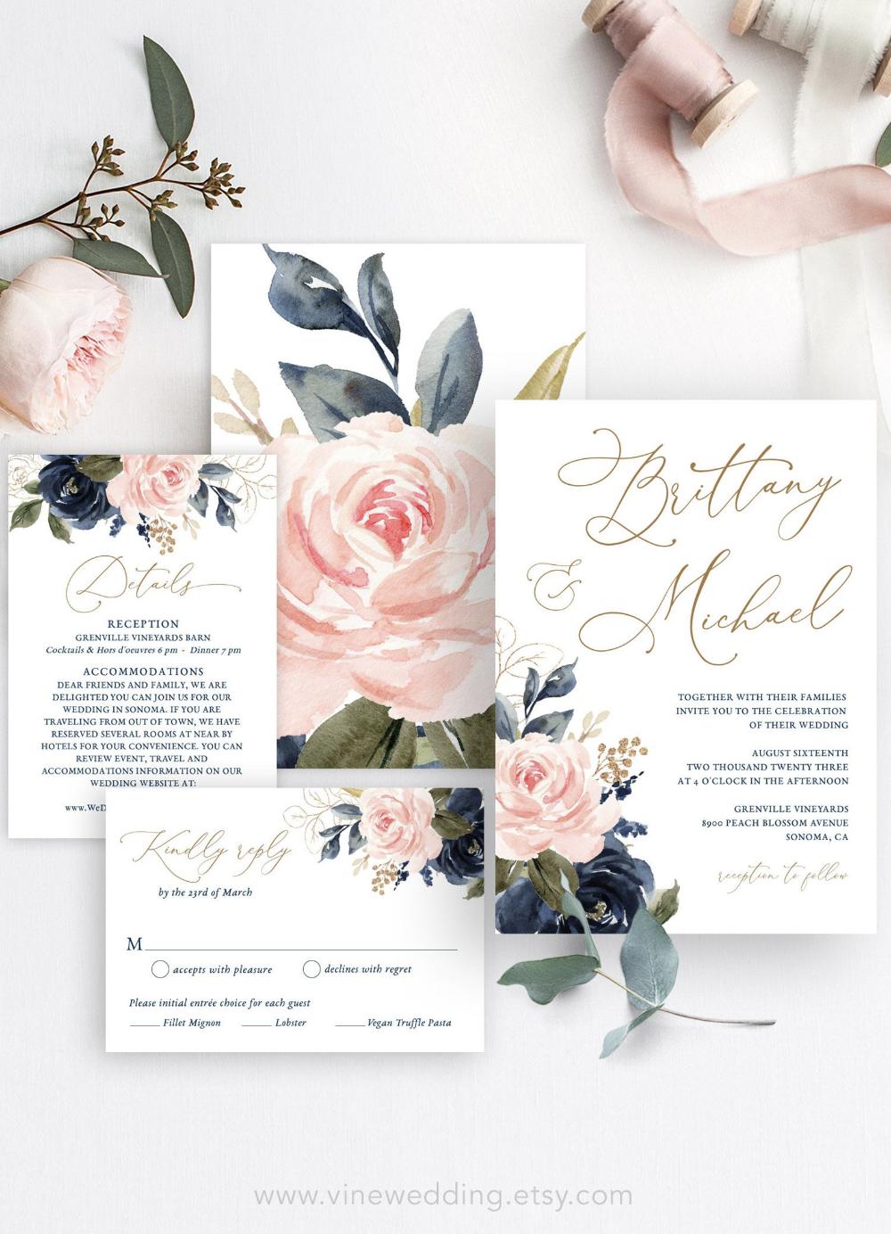 Navy Pink Floral Wedding Invitation Set Printable Wedding Etsy In 2020 Floral Wedding Invitations Wedding Invitations Printable Templates Wedding Invitation Sets
