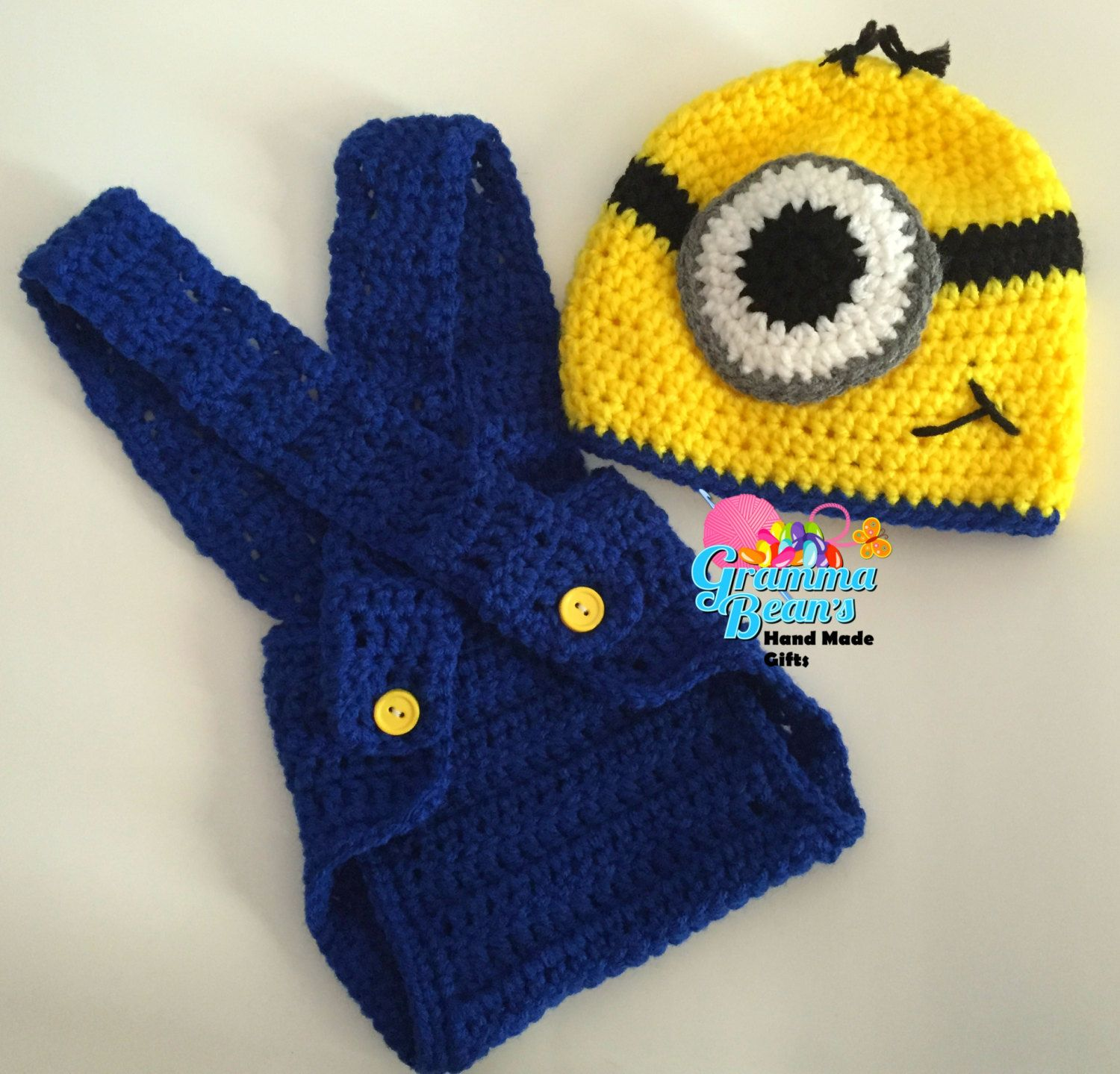 Crochet Minion Beanie and Diaper Cover | Crochet Beanie Hat Patterns ...