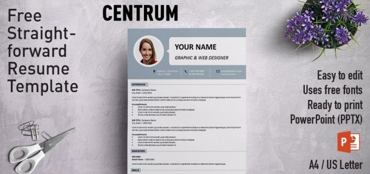 Centrum Simple Powerpoint Resume Template Resume Template Curriculum Template Powerpoint