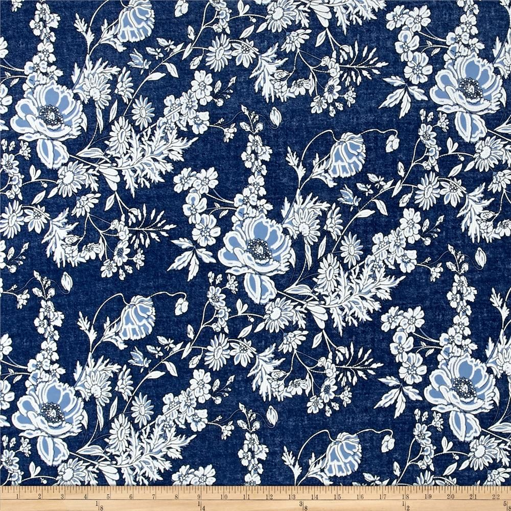 59c500bf47e5 Telio Venice Stretch ITY Jersey Knit Floral Print Denim from @fabricdotcom  Venecia ITY (interlock twist yarn)…