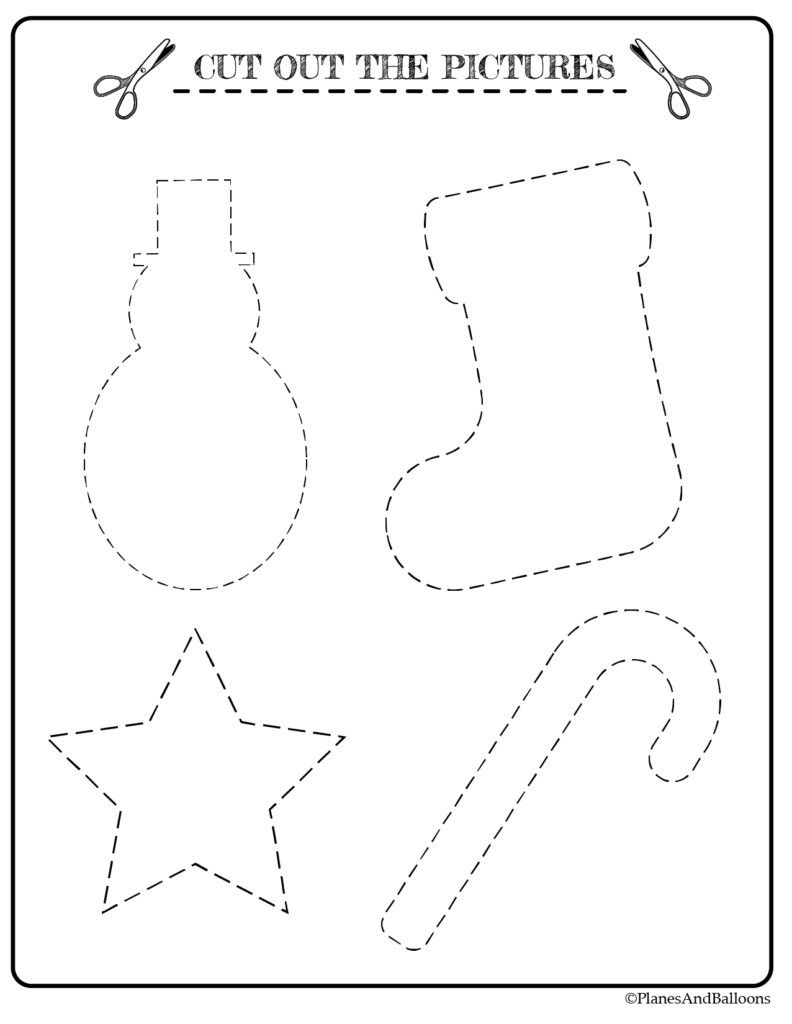 Christmas Worksheets To Practice Tracing And Cutting Skills