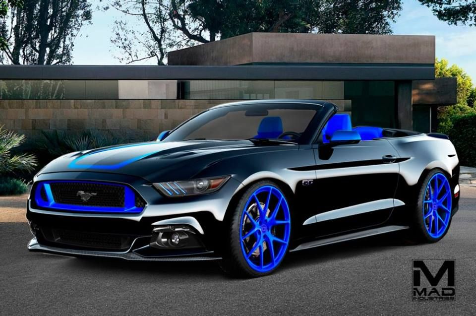 mad industries 2015 ford mustang gt convertible black and blue custom interior blue wheels - 2015 Ford Mustang Gt Convertible Black
