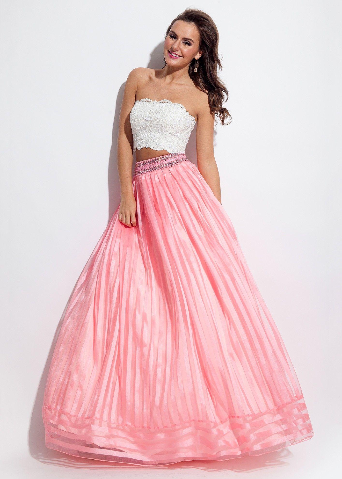 Rachel Allan 7094 White/Coral Beaded Waist Two Piece Ball Gown ...