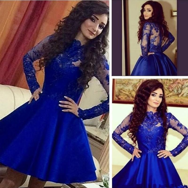 >> Click to Buy << Long Sleeves Royal Blue Short Cocktail Party Dresses A-line Knee Length Jewel Neck Sheer Girls Sexy robe de cocktail 2016  New #Affiliate
