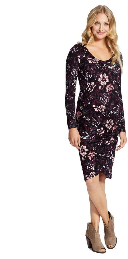 9b40b3f42cd Motherhood Maternity Jessica Simpson Floral Ruched Maternity Dress Long  Sleeve Maternity Dress