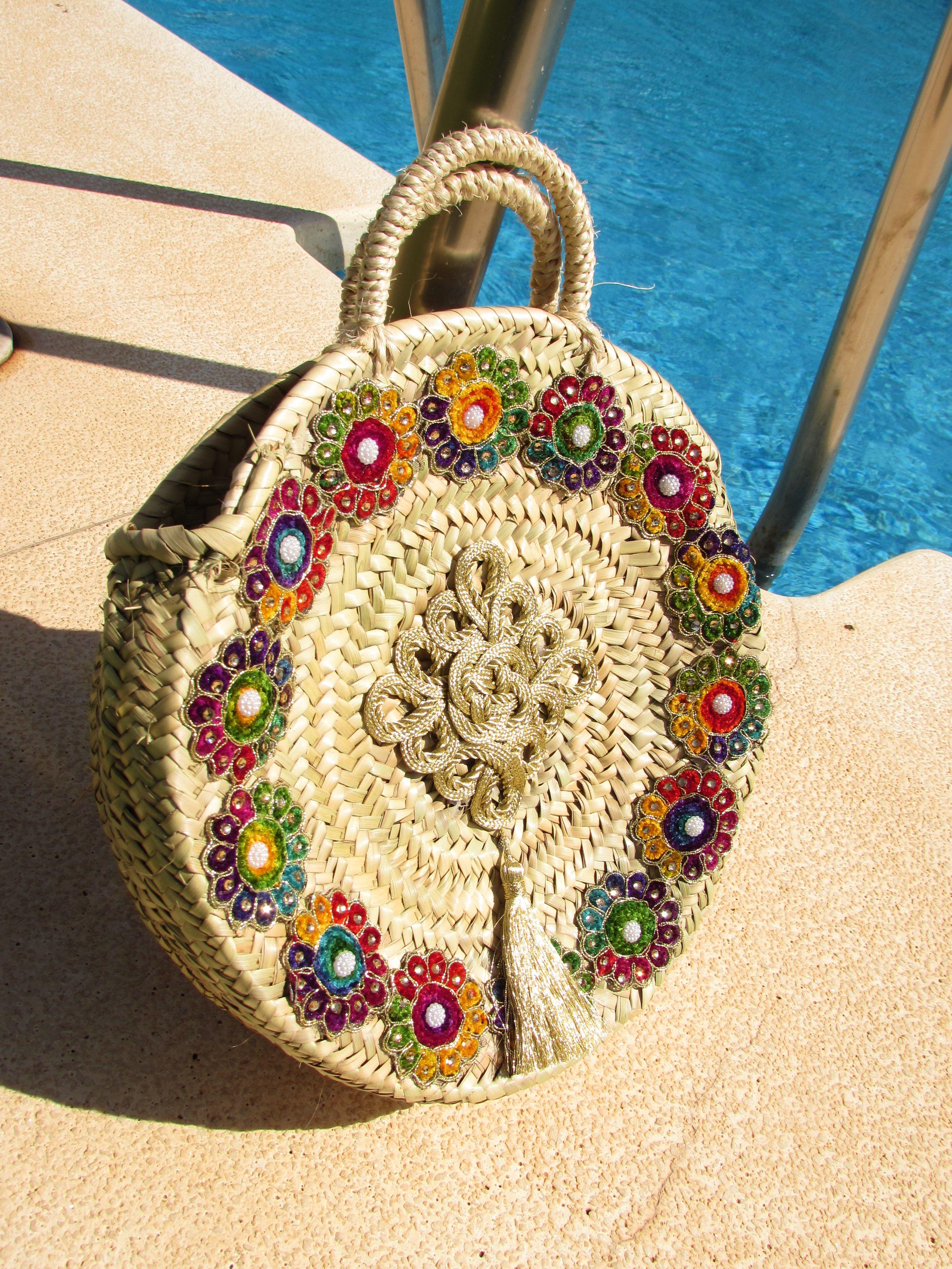 Boho-gypsy decorated round straw bag from www.thecraftygal ...