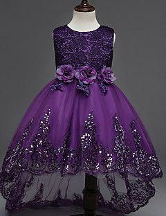 e5efa836b Princesa Asimétrica Vestido de Niña Florista - Algodón Organza Tul Joya con  Apliques Lazo(s)