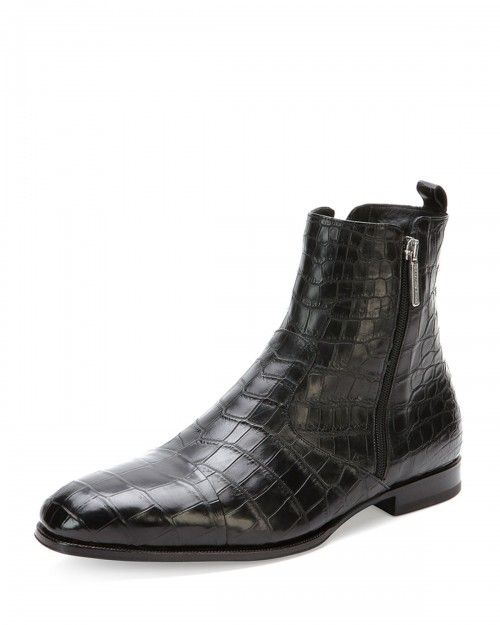 77614dfea Stefano Ricci Crocodile Chelsea Boots Black Men s 9