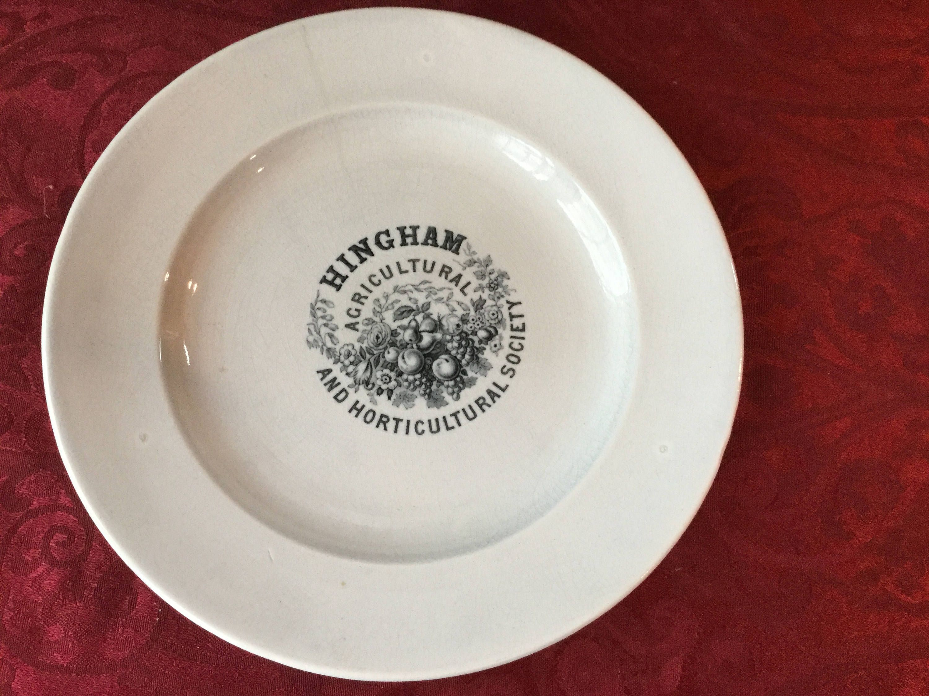 Old Hall Earthenware Hingham Agricultural and Horticultural Society Dinner Plate 1800u0027s by SquireCollectibles on Etsy & Old Hall Earthenware Hingham Agricultural and Horticultural Society ...