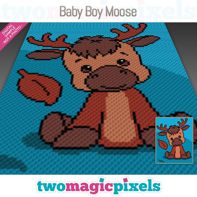 Photo of Baby Boy Moose crochet graph (C2C, Mini C2C, SC, HDC, DC, TSS), cross stitch; knitting; PDF download, no counts/instructions