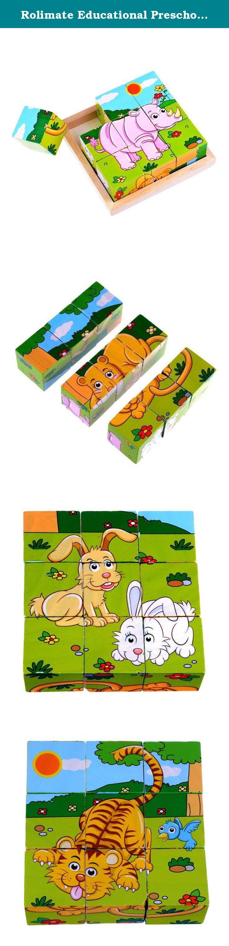 Lion toys for kids  Rolimate Educational Preschool Wooden Cube Block Jigsaw Puzzles