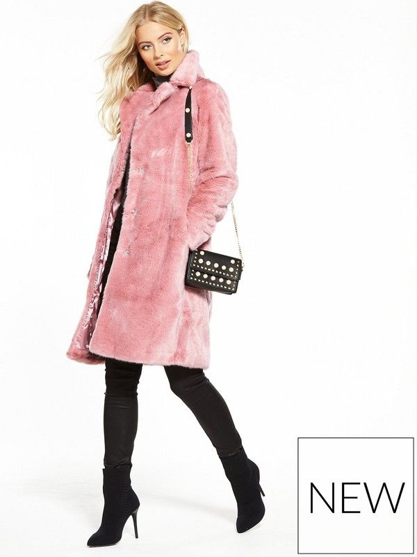 V by Very Midi Faur Fur Coat - Pink Rock the shade of the season ...