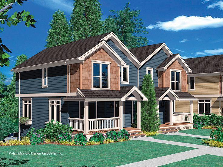 Craftsman Style Duplex 034m 0014 House Plans In 2019