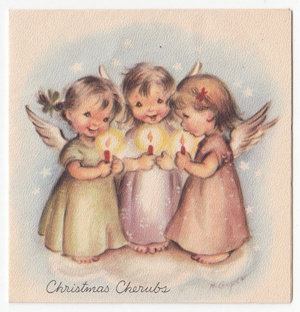 Vintage greeting card christmas cherubs cute angel marjorie m vintage greeting card christmas cherubs cute angel marjorie m cooper 1940s kristyandbryce Image collections