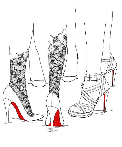 Louboutin sketch by Garance Dore   Look at those leggings! Wicked cool!