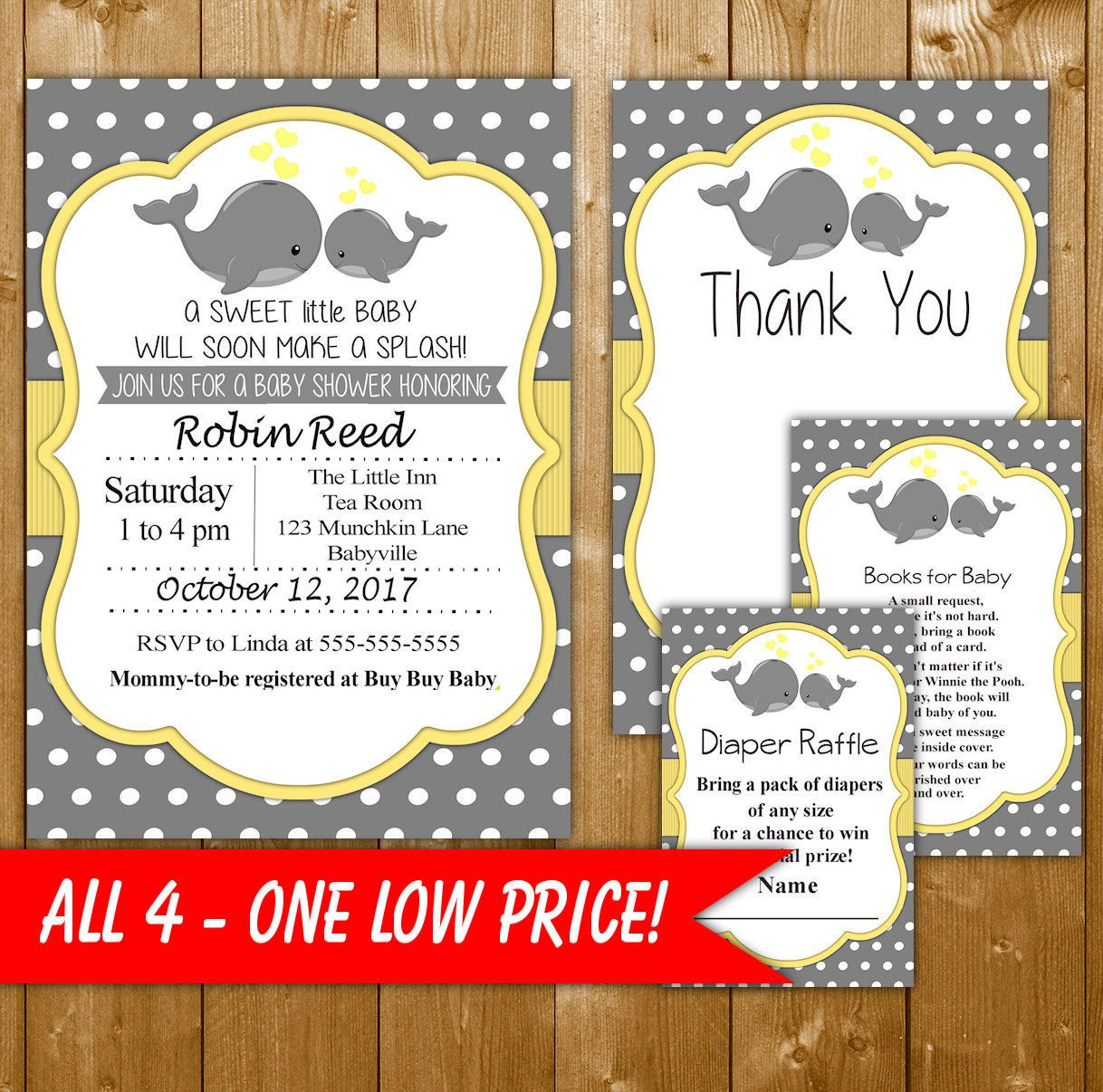 Whale Baby Shower Invitation, Instant Dowload, Neutral Baby Shower ...