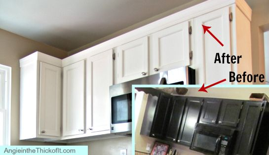 adding moulding to upper kitchen cabinets before after | DIY ...