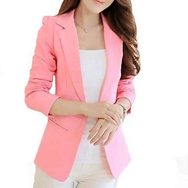 sólido de color rosa de las mujeres   chaqueta negro 46c6ddd4c5de