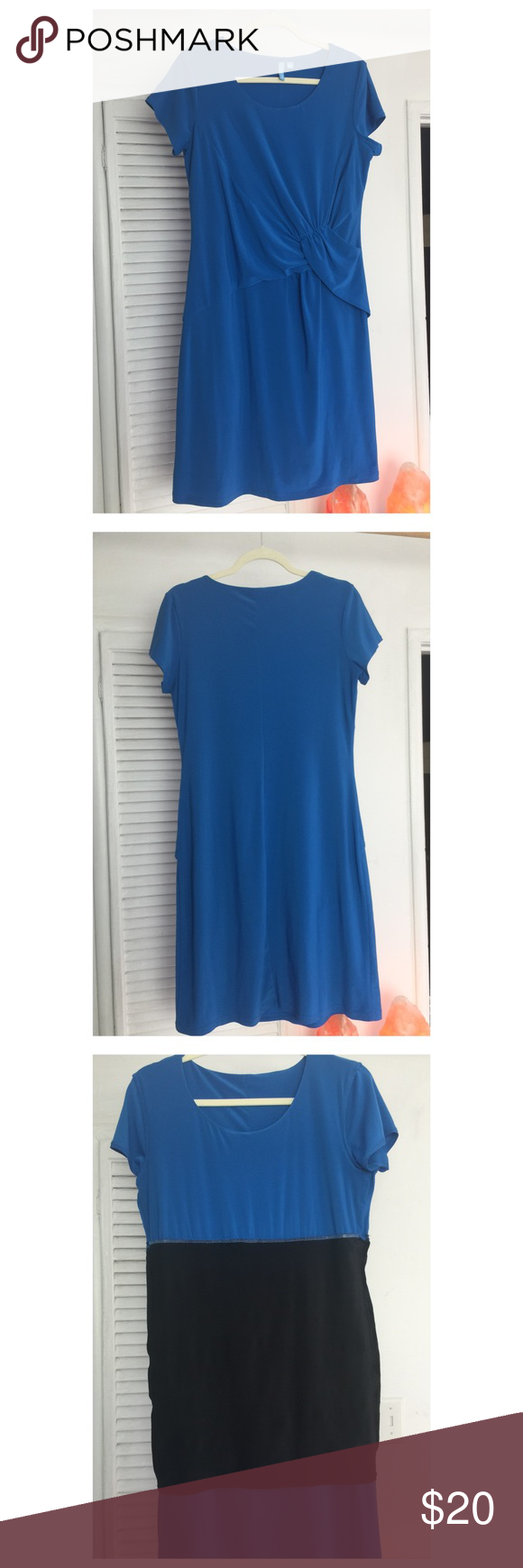 "Slimming dress This is a form fitting dress. Fits above the knee and have capped sleeves. The dress has a built in ""spanx"" technology to help smooth anything around the belly and behind. The dress is new without tags. b-slim Dresses"