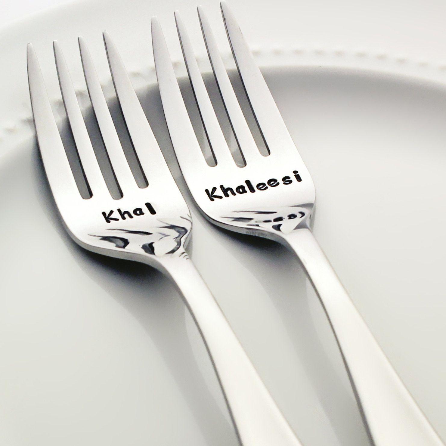 Khal / Khaleesi - Stamped Wedding Forks for Game of Thrones Weddings ...