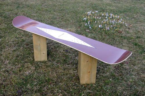 How To Make A Snowboard Bench From An Old Board Snowboarding Snowboard Fun Winter Activities