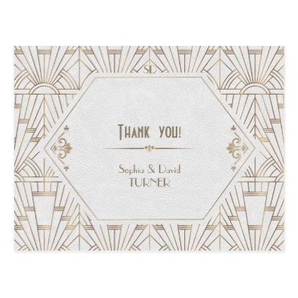 Royal White Gold Great Gatsby Wedding Thank You Postcard In 2018