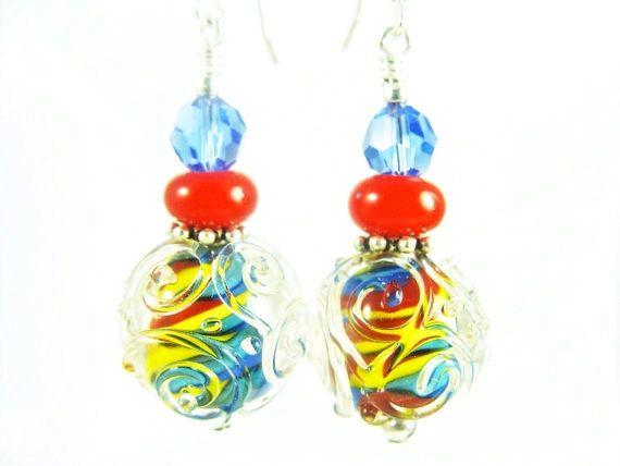 Autism Earrings Glass Bead Jewelry Colorful by JadjusJewelry, $31.00