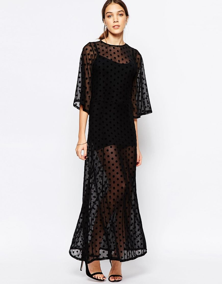 Ganni Sheer Maxi Dress in Mesh Dot  ASOS Sheer maxi dress and ...