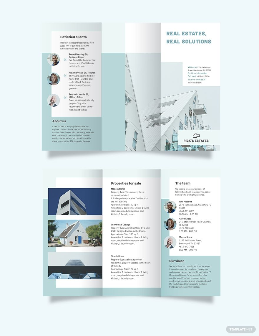 Residential Real Estate Broker TriFold Brochure Template