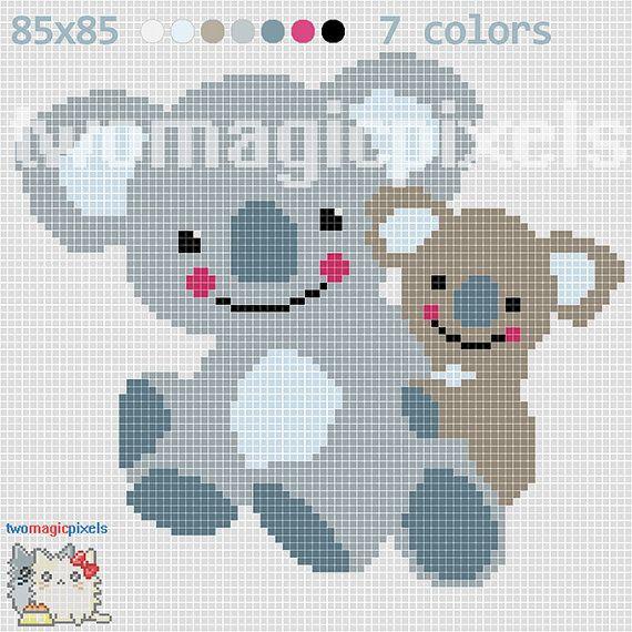 Two Koalas c2c graph crochet pattern instant PDF by TwoMagicPixels