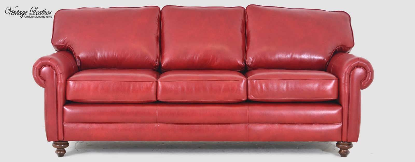 Red Leather Arabella Sofa By Vintage