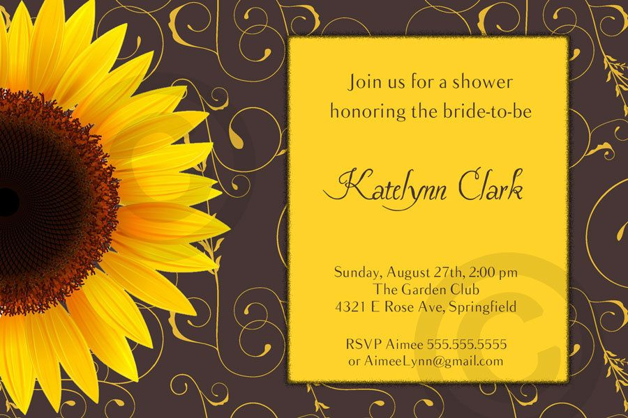 SUNFLOWER Bridal or Baby Shower or Birthday by ReneesSoirees, $10.00
