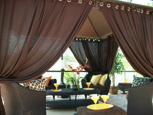 Includes Panels Indoor/Outdoor Gazebo Patio Drapes Rich Brown X